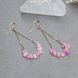 Pink Lady Opal Chandelier Earrings