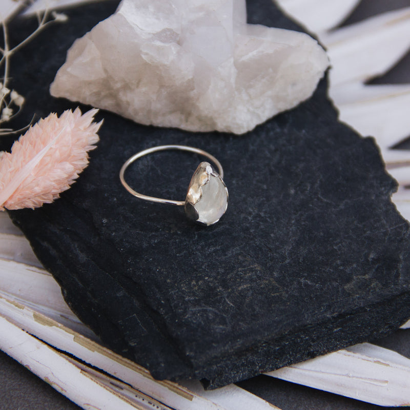 Teardrop Rainbow Moonstone Ring Size 8 - Gypset