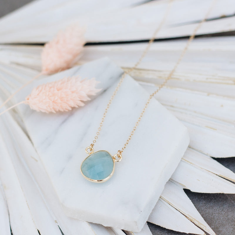 Aquamarine Teardrop Necklace - Gypset