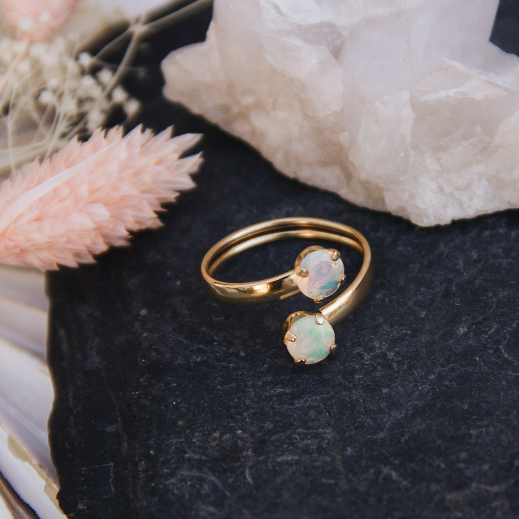 Double Opal Adjustable Ring - Gypset