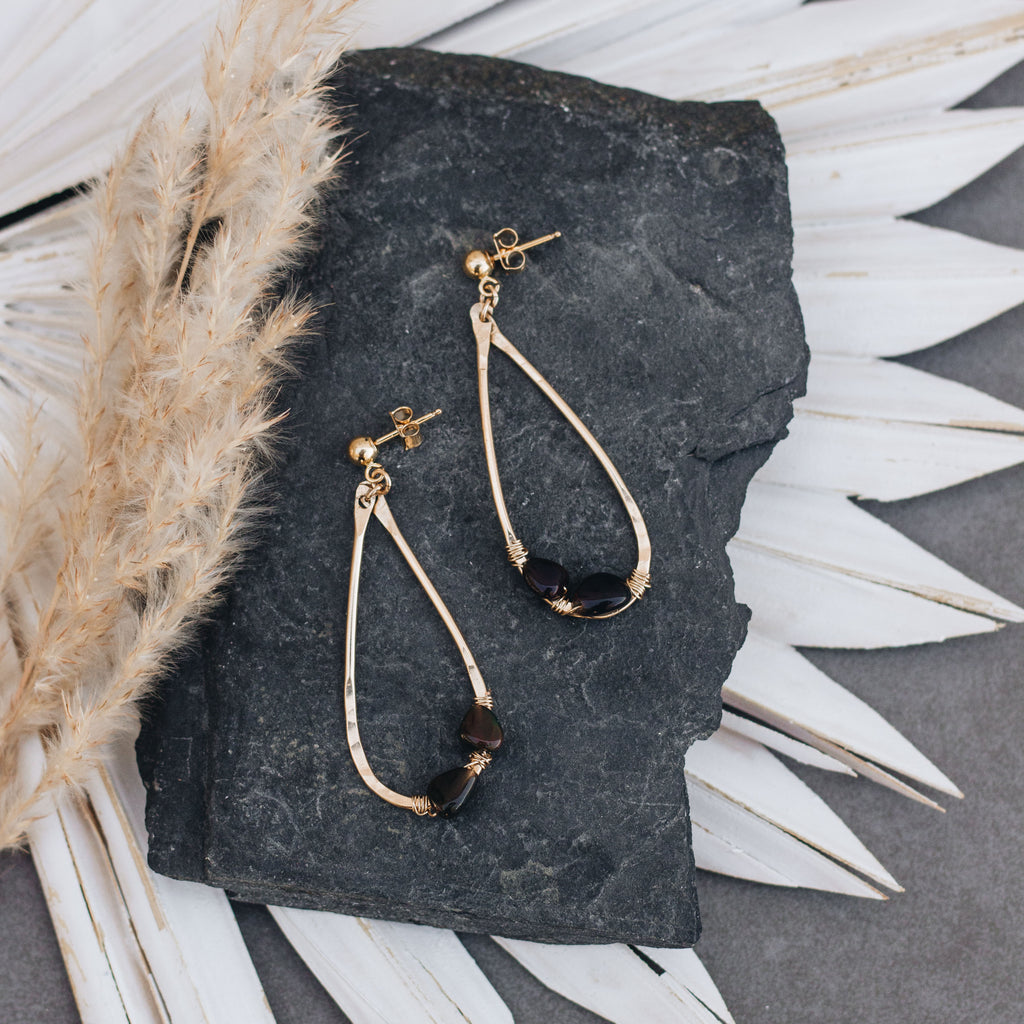 Black Opal Teardrop Earrings - Gypset