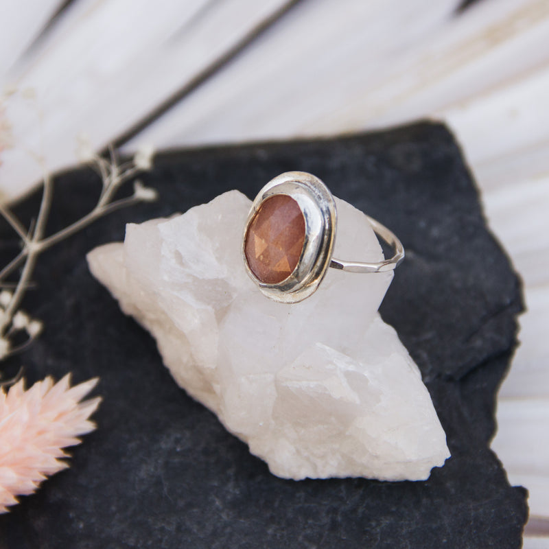 Abstract Pink Moonstone Ring Size 7 - Gypset