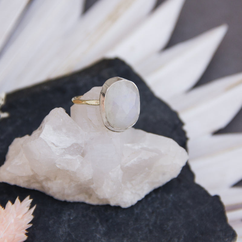 Rainbow Moonstone Ring Size 5 - Gypset