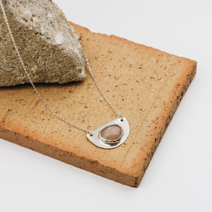 Pink Moonstone Half Moon Necklace
