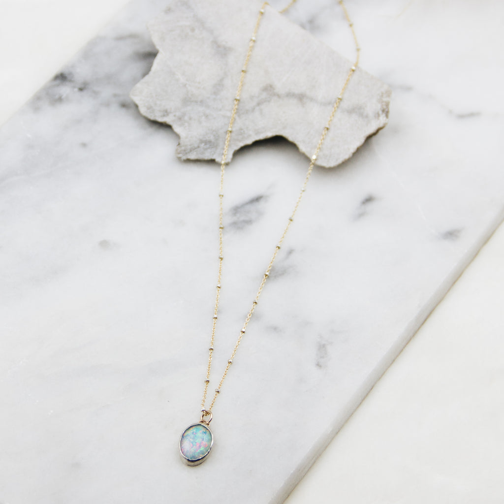 Fire Opal Forever Necklace