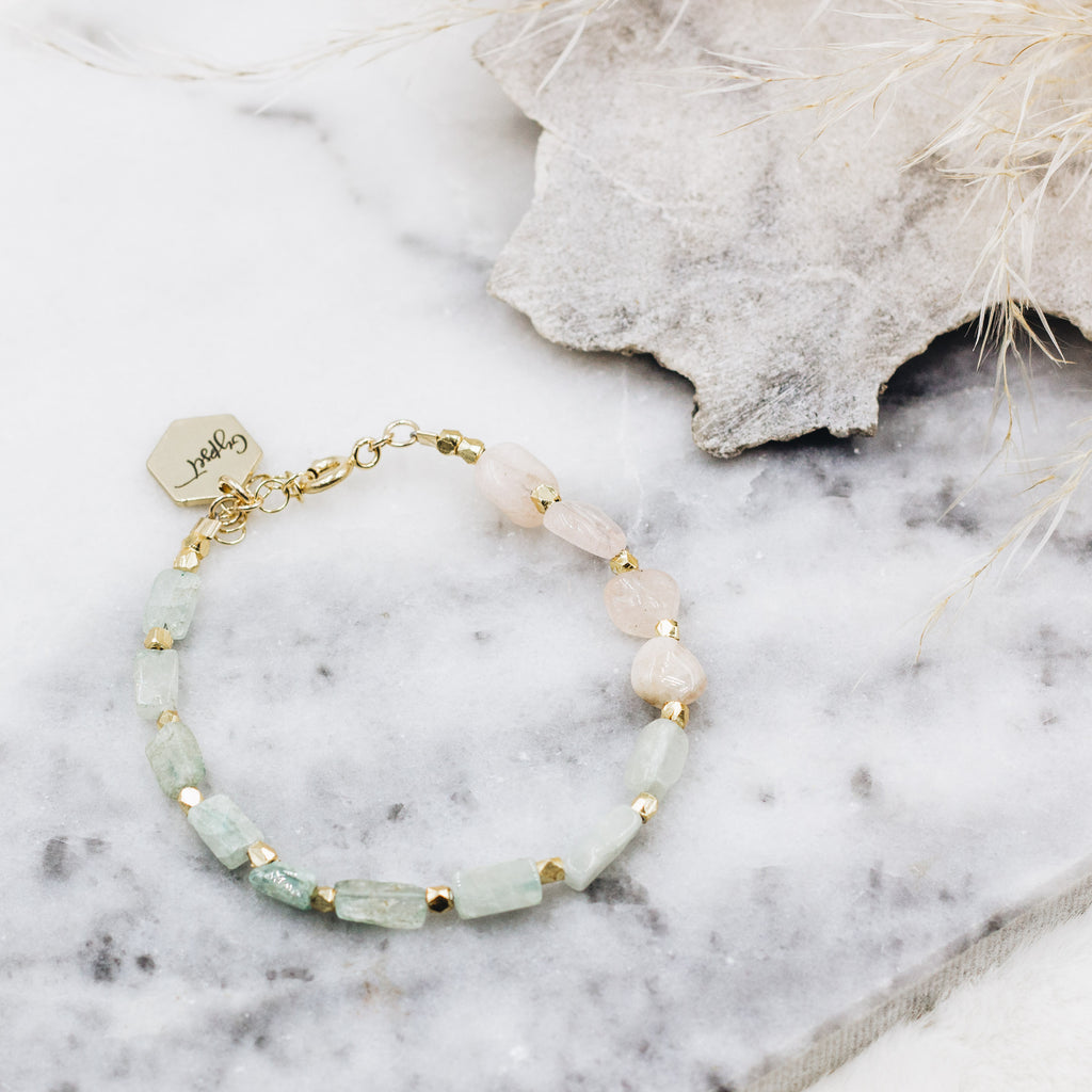 Pastels Rose Quartz Beaded Bracelet