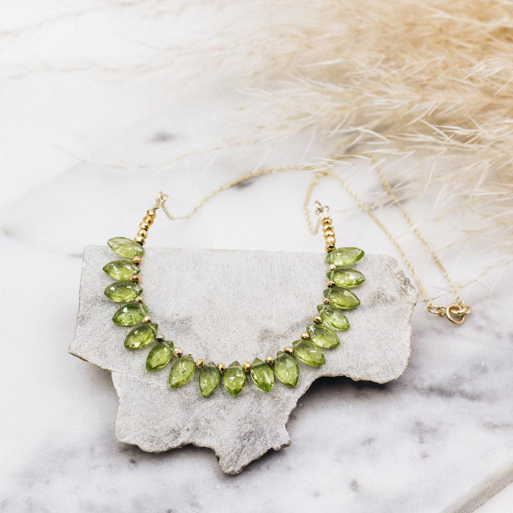 Faceted Teardrop Gemstone Necklace