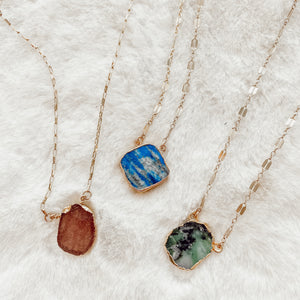 Raw Gemstone Slice Necklace - Gypset