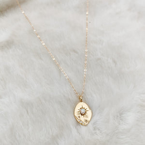 Opal Burst Coin Necklace