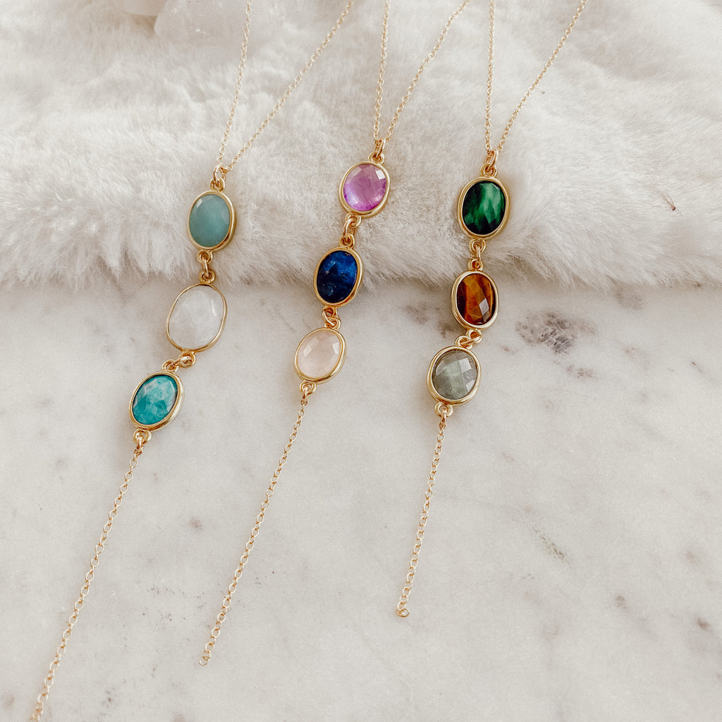 Triple Gemstone Lariats - Gypset