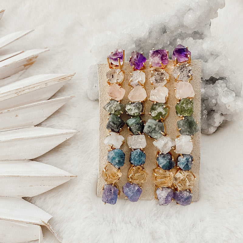 Raw Gemstone Stud Earrings - Gypset