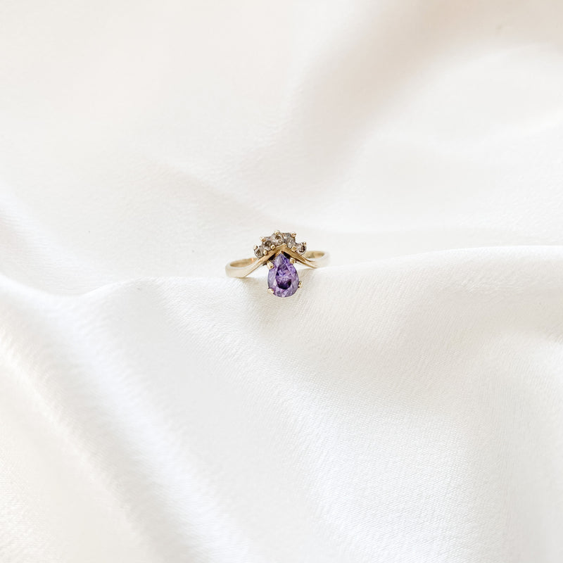 SOLID GOLD Vintage Pear Amethyst + Diamond Ring