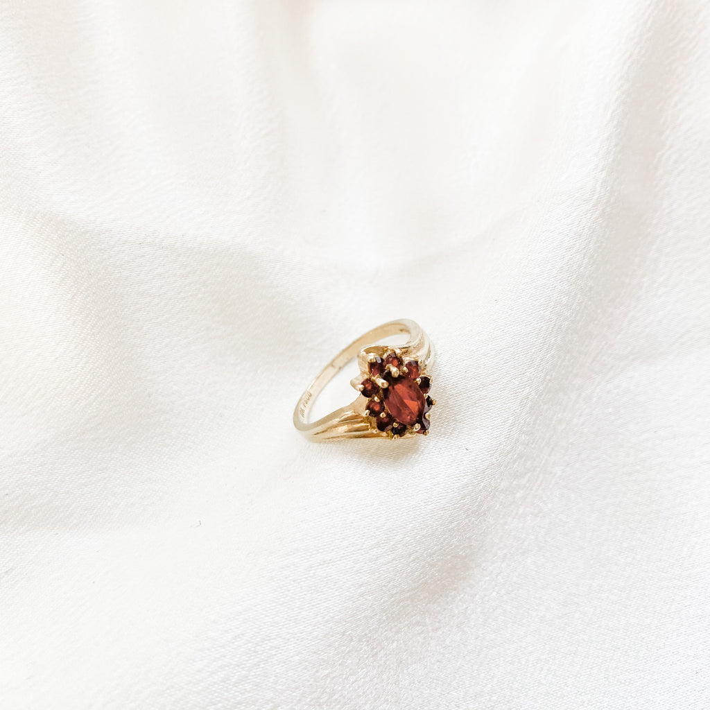SOLID GOLD Vintage Garnet Halo Ring