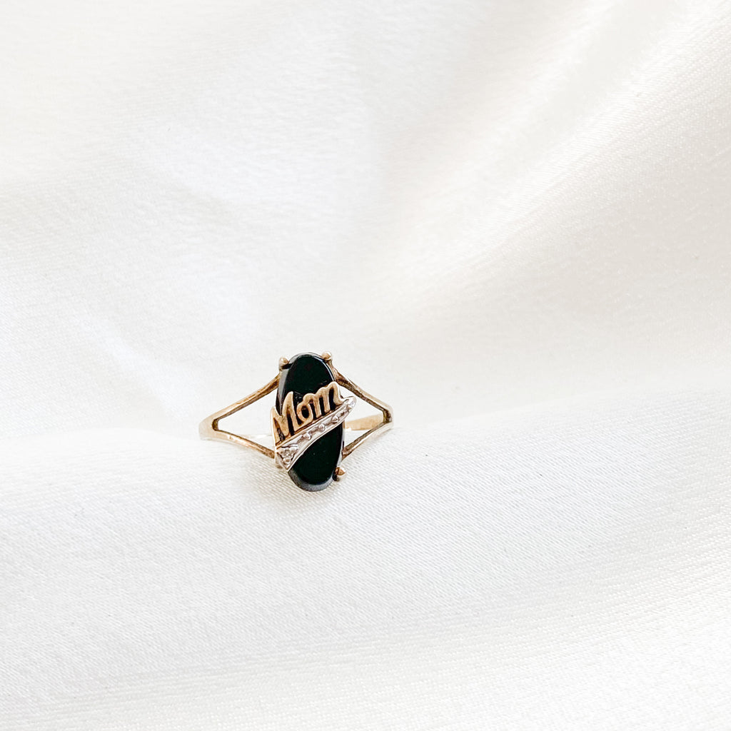 SOLID GOLD Vintage Onyx Mom Ring