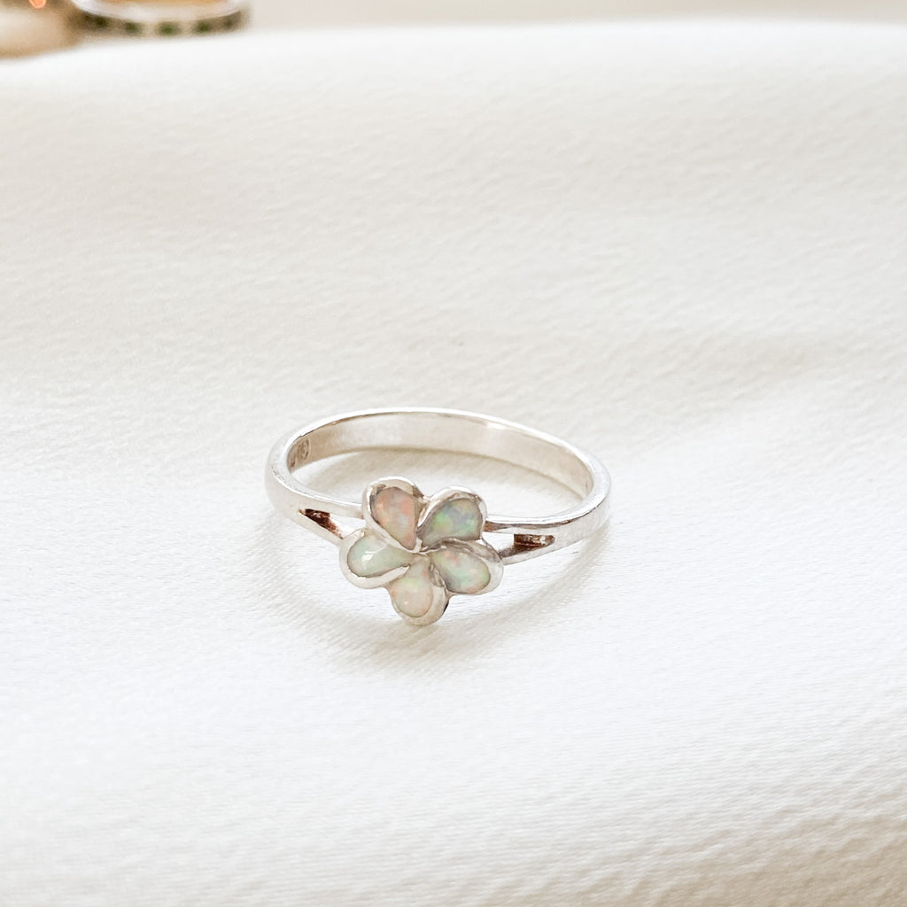 Vintage Sterling Opal Flower Ring