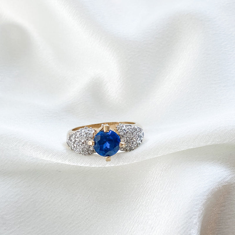 Vintage Sapphire Glass Ring