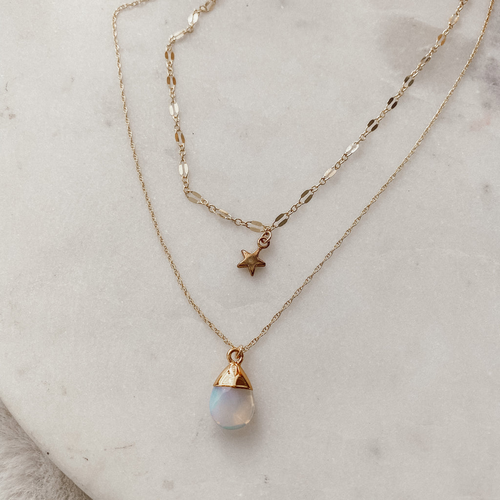 Opalite Stars Double Layer Necklace
