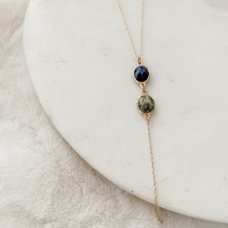 Double Gemstone Lariat