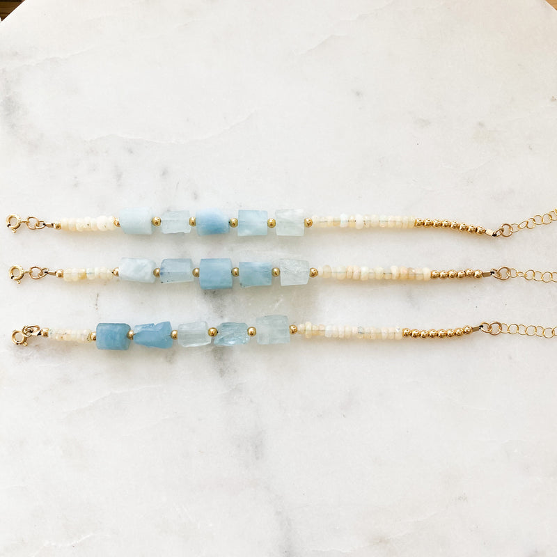 Aquamarine + Opal Beaded Bracelet