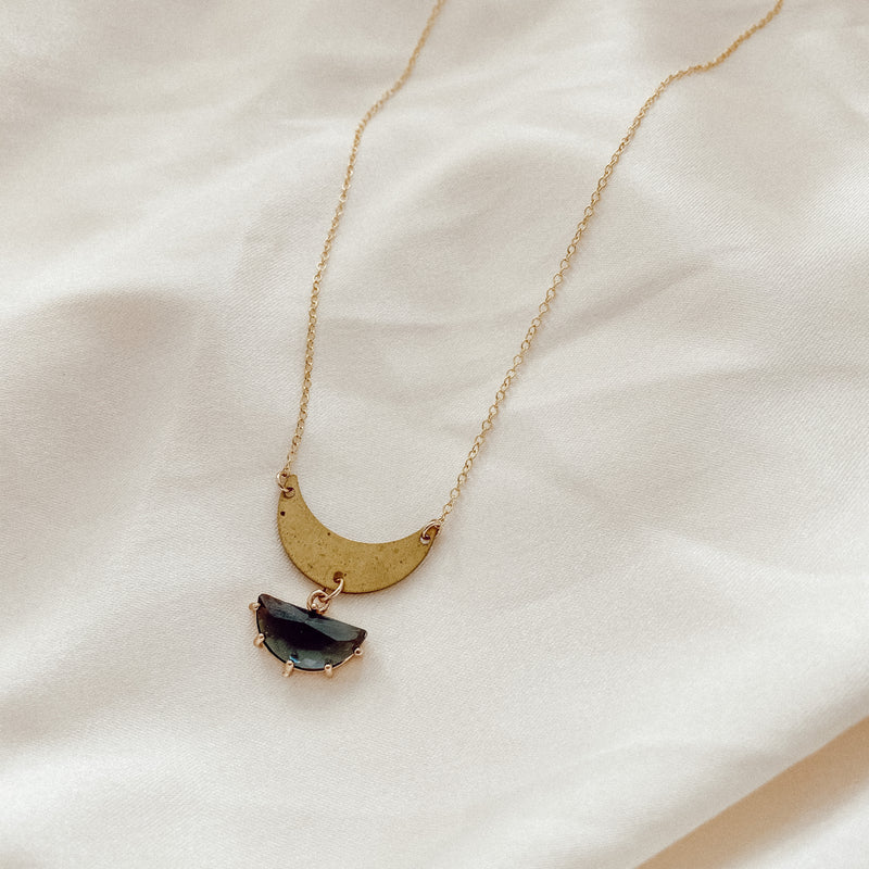 Midnight Half Moon Necklace
