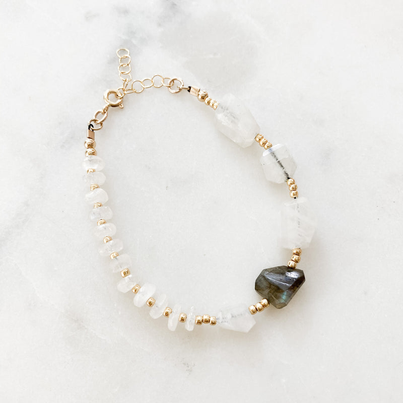 Labradorite + Moonstone Beaded Bracelet