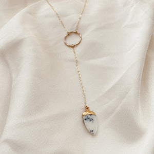 Dendritic Opal Lariat Necklace