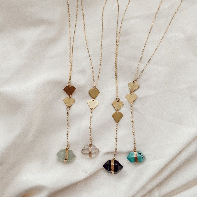 Geometric Gemstone Lariat Necklace