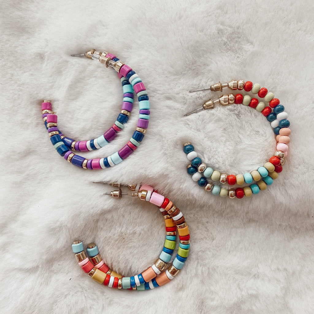 Rainbow Beaded Hoop Earrings