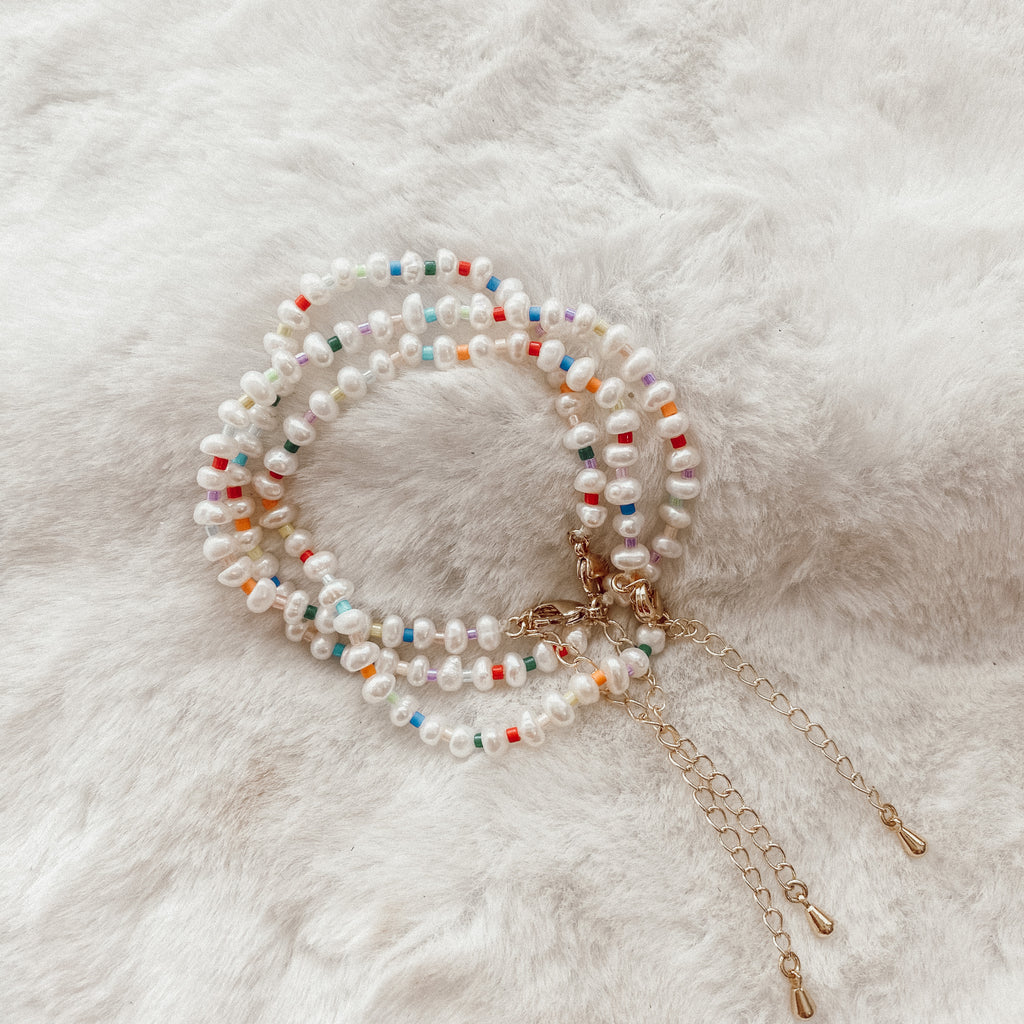 Rainbow Pearl Beaded Bracelet