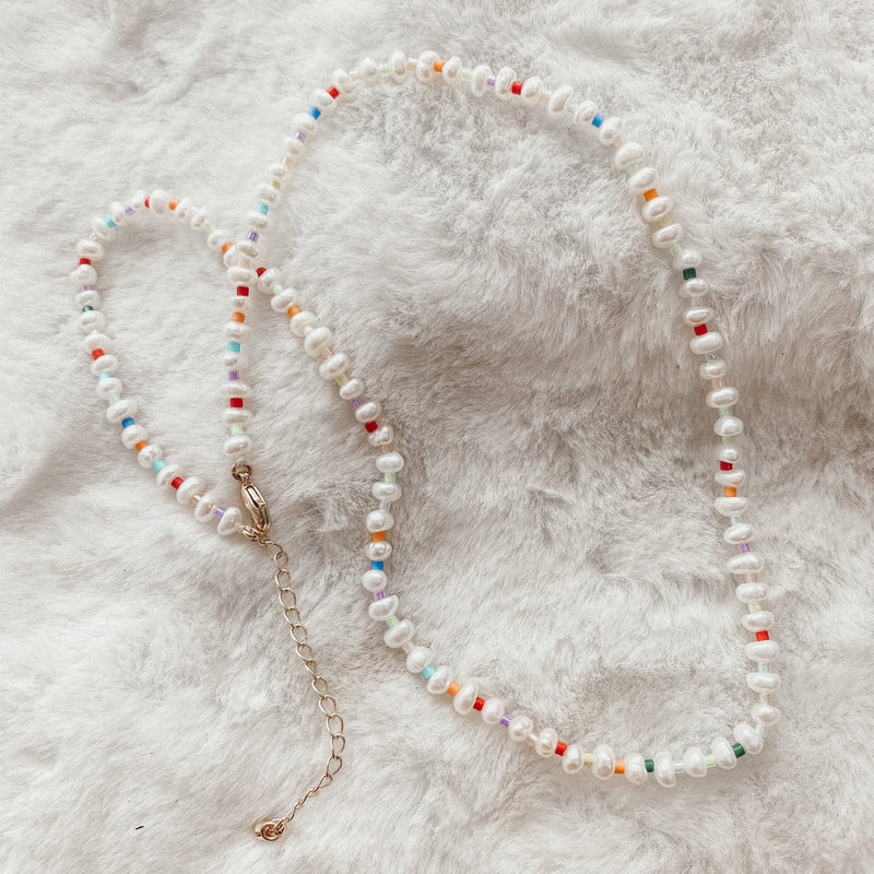 Rainbow Pearl Beaded Choker