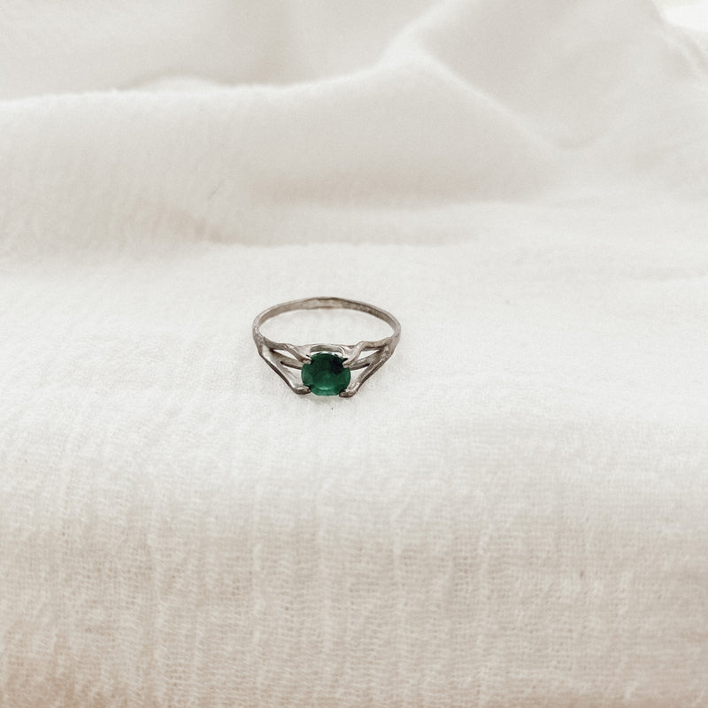 Vintage Patina Emerald Ring
