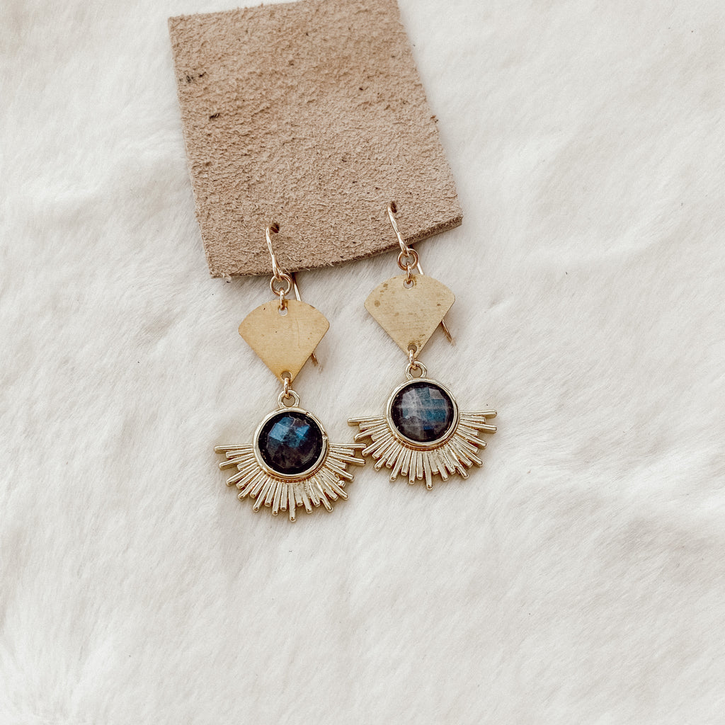 Labradorite Sun Earrings