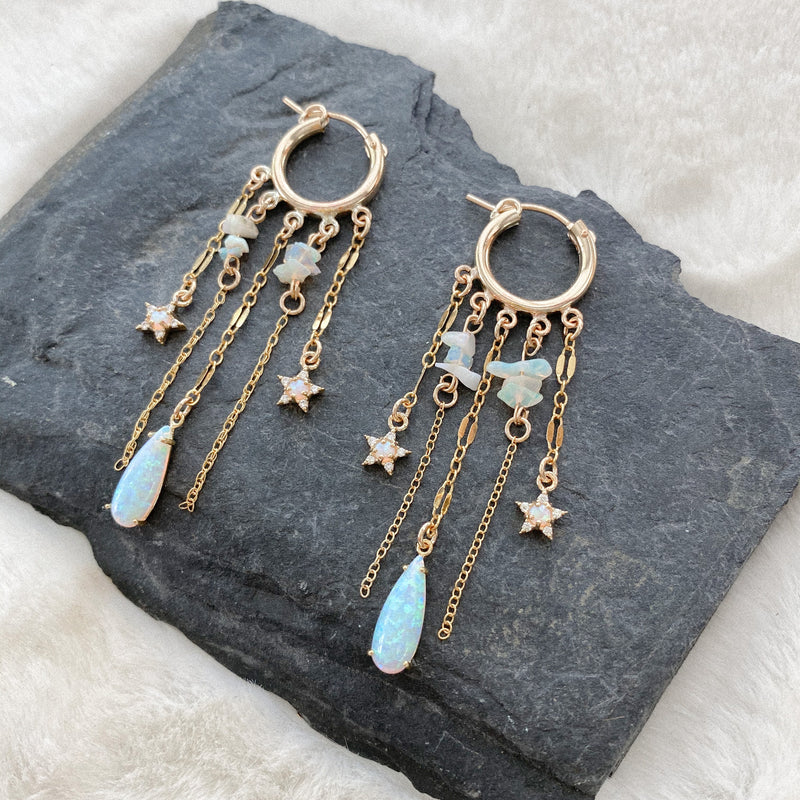 Opal Dangles Huggie Earrings