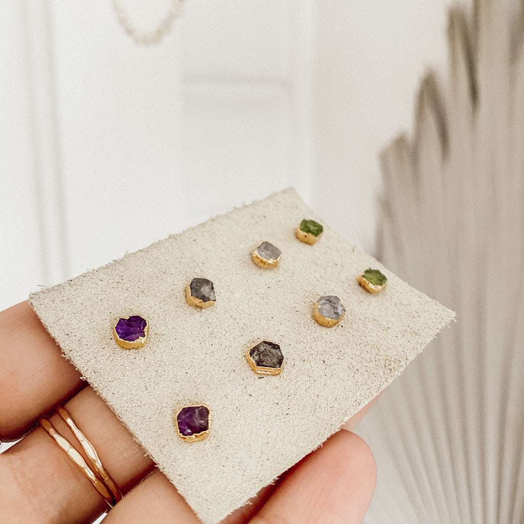 Tiny Gemstone Stud Earrings