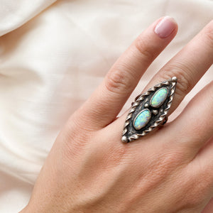 Vintage Double Opal Sterling Silver Ring