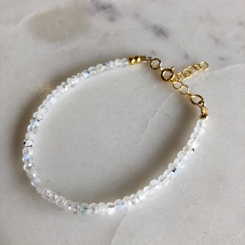 Dainty Moonstone Beaded Bracelet - Gypset