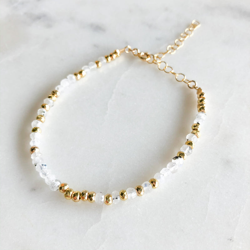 Dainty Moonstone + Pyrite Beaded Bracelet - Gypset