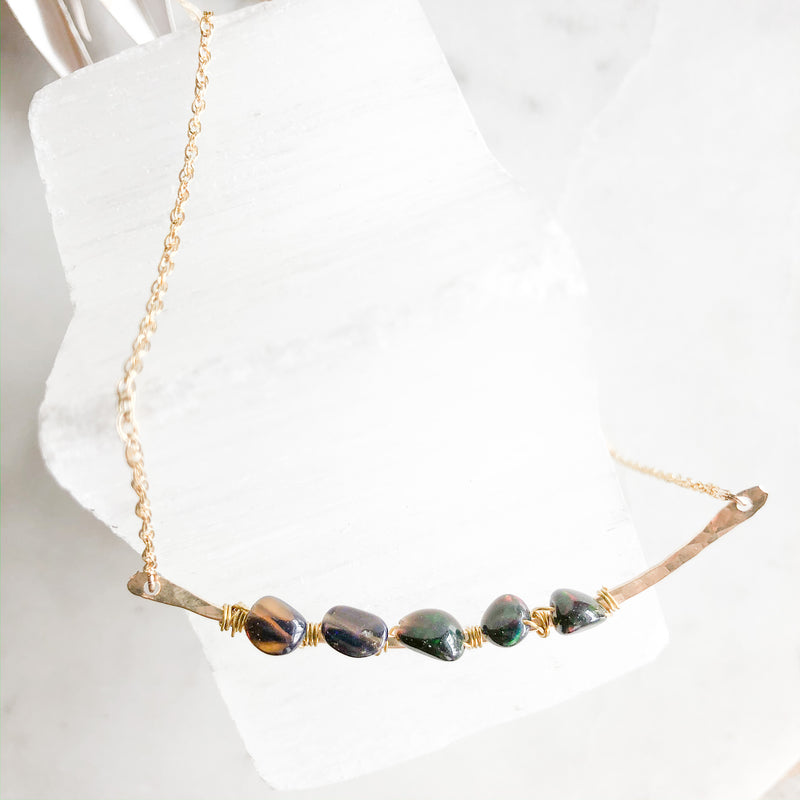 Black Opal Bar Necklace - Gypset