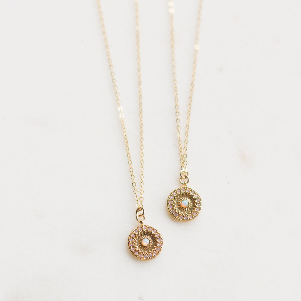 Opal Coin Layering Necklace