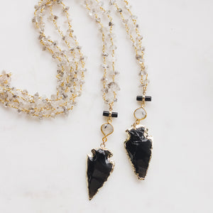 Black Onyx Arrowhead Herkimer Rosary Necklace