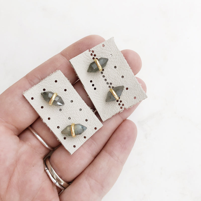 Geometric Labradorite Stud Earrings