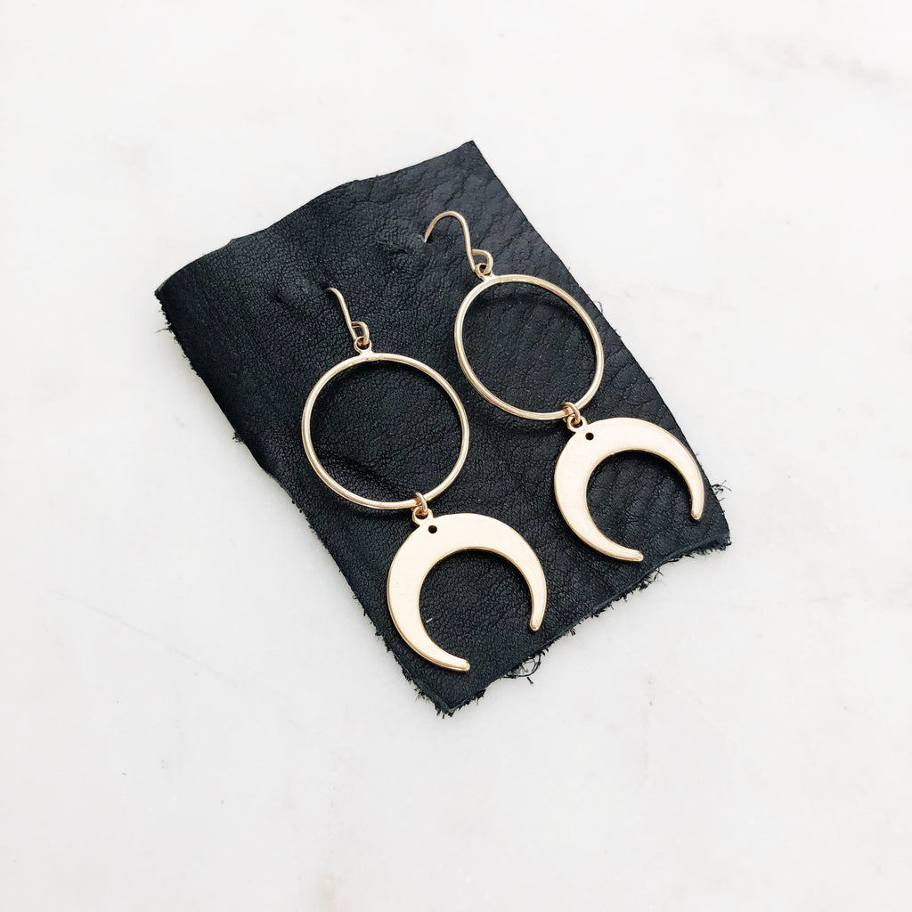 Moon Hoops - Gold Earrings