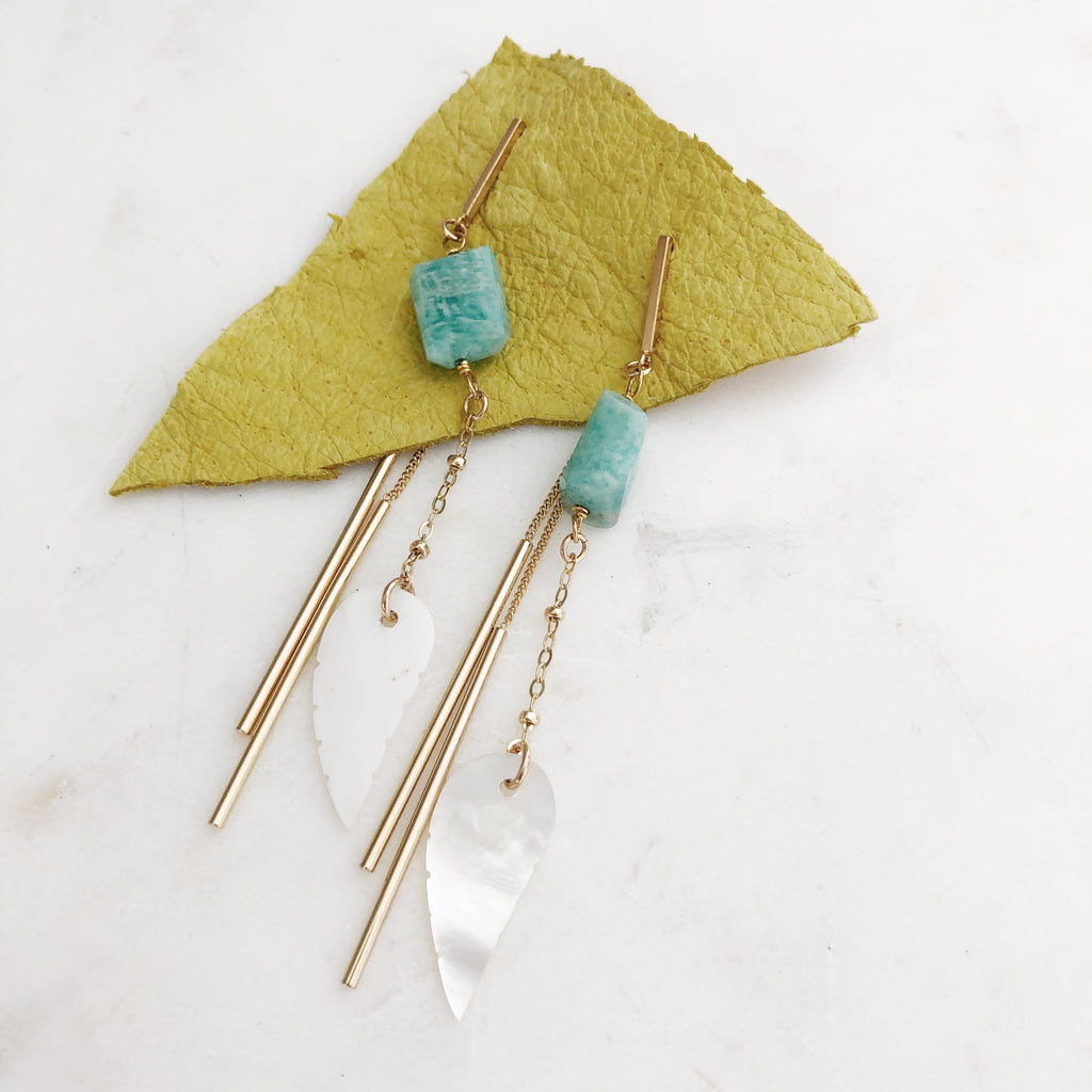 Amazonite Feather Dangle Earrings