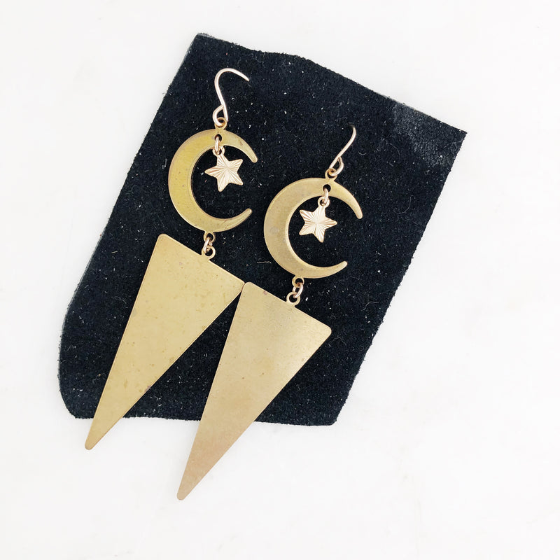Night Sky Brass Dangle Earrings