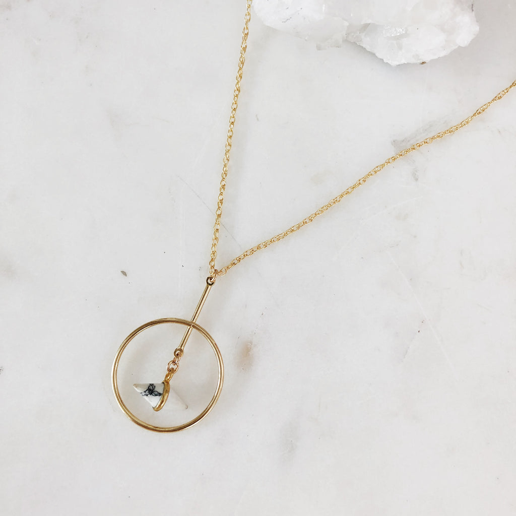 Dangling Marble Layering Necklace