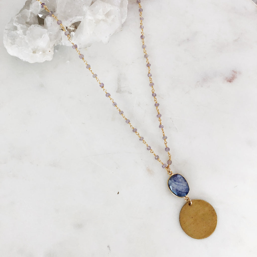 Lapis Coin Beaded Rosary Necklace