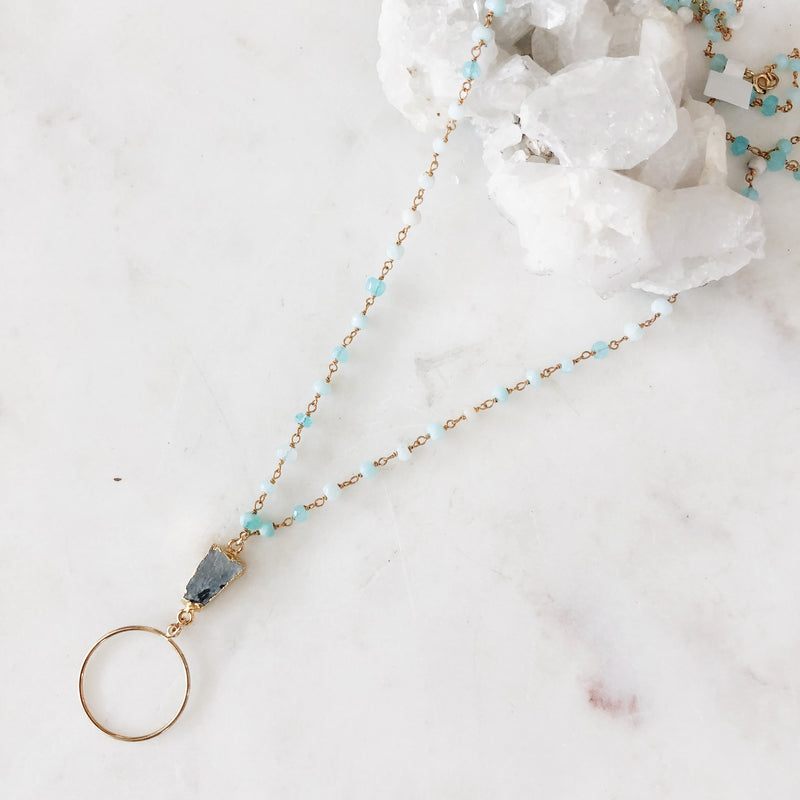 Baby Blue Rosary Necklace