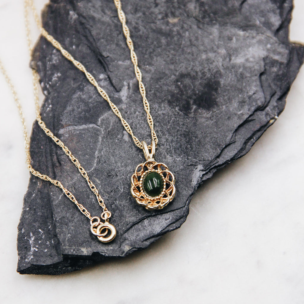 Deep Jade Vintage Filigree Layering Necklace