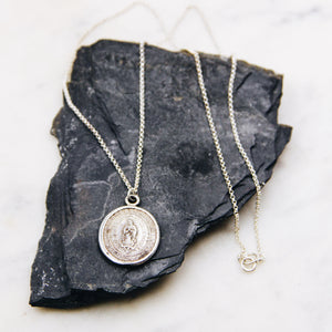 Vintage Silver Religious Coin Necklace