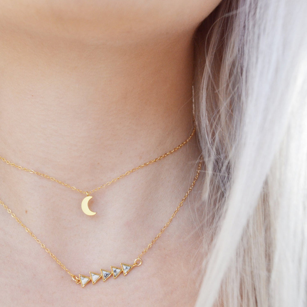 Crescent Moon + Marble Arrows Choker Set